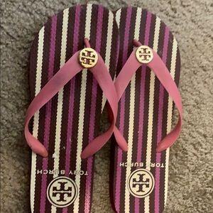 Tory Burch Striped flip flops